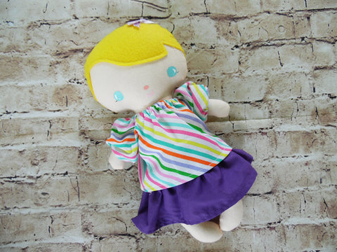 Wee Baby Girl Doll, White, Purple Skirt/Striped Top