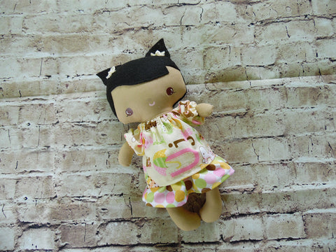 Wee Baby Girl Doll, Tan, Polka Dot Skirt/Matching Print Top