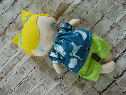 Wee Baby Girl Doll, White, Lime Green Shorts/Blue Print Top