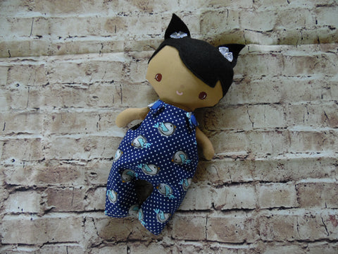 Wee Baby Girl Doll, Tan, Blue Overalls with Birdies