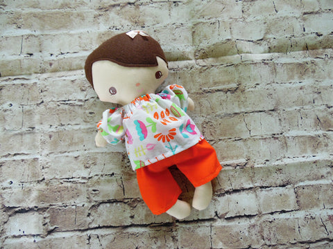 Wee Baby Girl Doll, White, Orange Skirt/Floral Print Top
