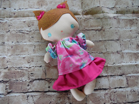 Wee Baby Girl Doll, White, Pink Skirt/Pink-Blue Top