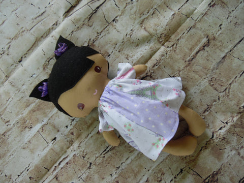 Wee Baby Girl Doll, Tan, White/Purple Paris Dress