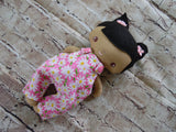 Wee Baby Girl Doll, Tan, Pink Daisy Overalls