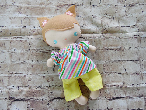 Wee Baby Girl Doll, White, Yellow Shorts Striped Top