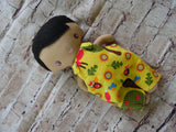 Wee Baby Boy Doll, Tan, Yellow Print Overalls