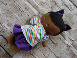 Wee Baby Girl Doll, Dark, Purple Skirt Striped Top
