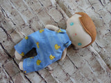 Wee Baby Boy Doll, White, Blue Overalls with Duckies