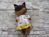 Wee Baby Girl Doll, Dark, Yellow Skirt Floral Top