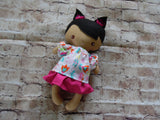 Wee Baby Girl Doll, Tan, Pink Skirt Floral Top