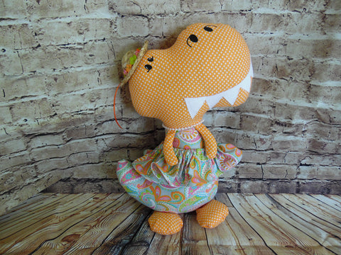 Dinosaur, Girl, T-Rex, Orange Polka Dot with Orange/Turquoise Paisley