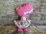 Dinosaur, Girl, T-Rex, Pink Polka Dot with Floral Print