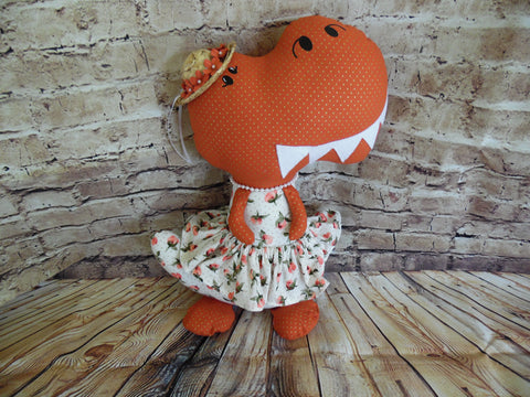 Dinosaur, Girl, T-Rex, Rust Gold Polka Dot with Floral Print