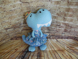 Dinosaur, Girl, T-Rex, Blue Polka Dot with Floral Print