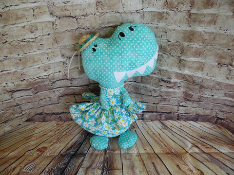 Dinosaur, Girl, T-Rex, Turquoise Polka Dot with Daisies