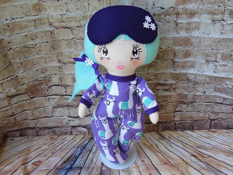 Lollipop Girl, White, Seafoam Green Hair, Purple Llama Print Footed PJs