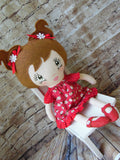 Lollipop Girl, White, Brown Pigtails, Red Dress with White Daisies