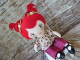 Lollipop Girl, White, Red Pigtails, Beige Floral Top/Maroon Pants