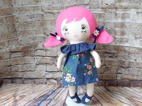 Lollipop Girl, White, Pink Ponytails, Navy Polka Dot Floral Dress