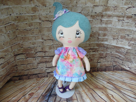 Lollipop Girl, White, Aqua Hair High Ponytail, Tie-Dye Print Dress