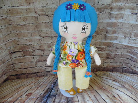 Lollipop Girl, White, Blue Braids, Orange/Purple/Yellow Floral Top/Light Yellow Pants