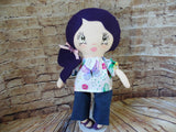 Lollipop Girl, White, Purple Hair Long Ponytail, Floral Print Top/Denim Pants