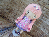 Lollipop Girl, White, Pink Braids, Pink/Purple Floral Print Dress