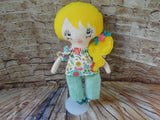 Lollipop Girl, White, Yellow Hair Long Ponytail, White Floral Top/Light Turquoise Pants