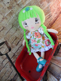 Lollipop Girl, White, Lime Green Hair-Braids, Pink/Turquoise Floral Print