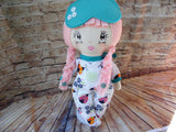 Lollipop Girl, White, Pink Hair-Braids, White Floral Print Footed PJs