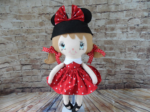 Mouse Girl, Tan Hair, Red Polka Dot Dress