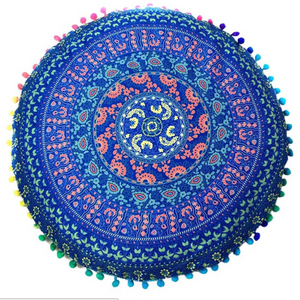Bohemian PomPom Meditation Cushion Cover