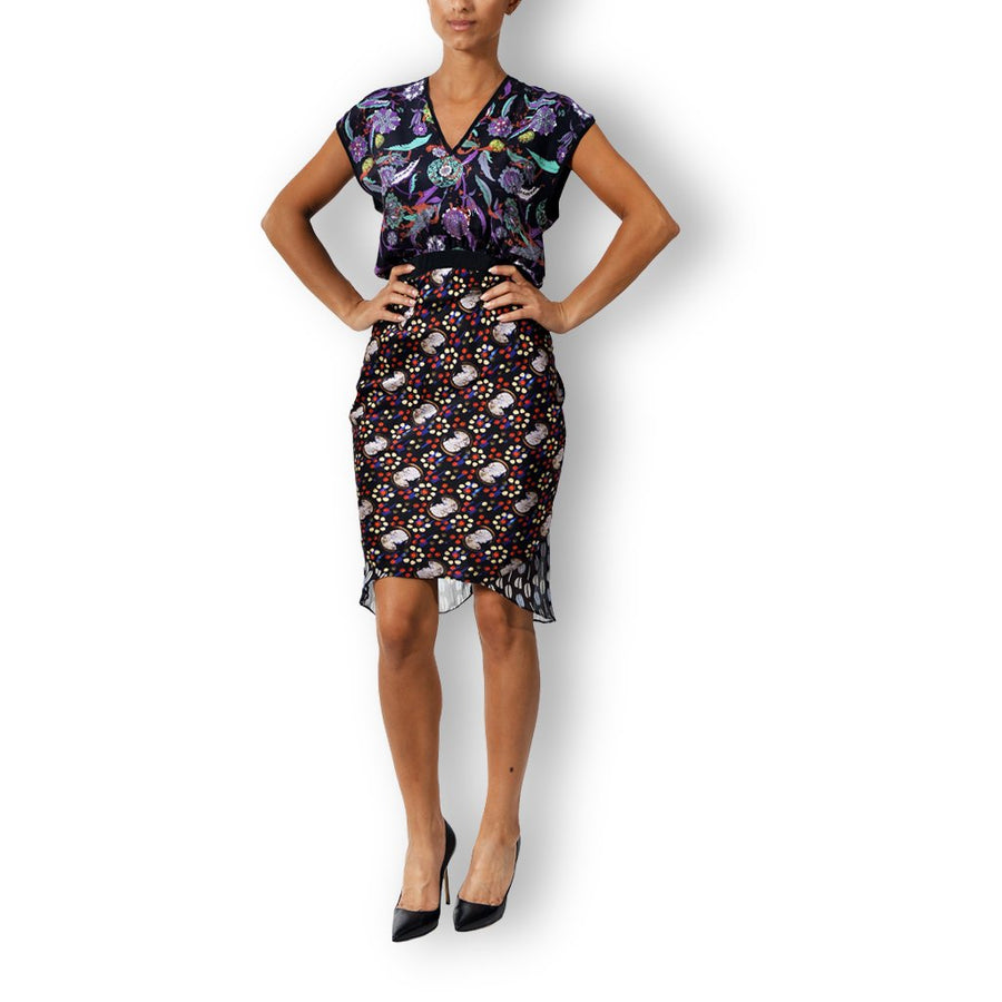 Printed silk crepe ruffle dress