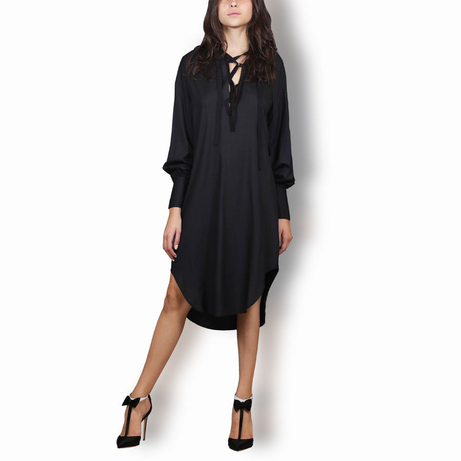 Black Lace-Up Silk Peasant Tunic