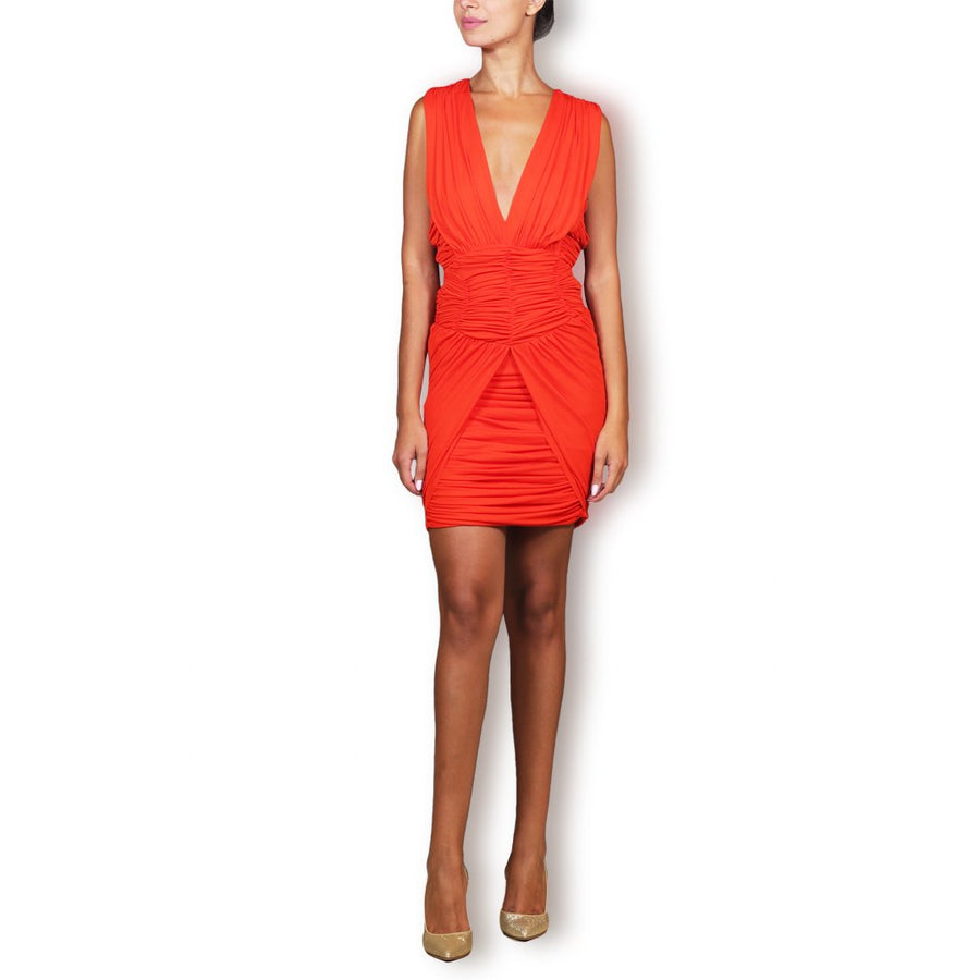Orange Sleeveless Ruched Mini Dress