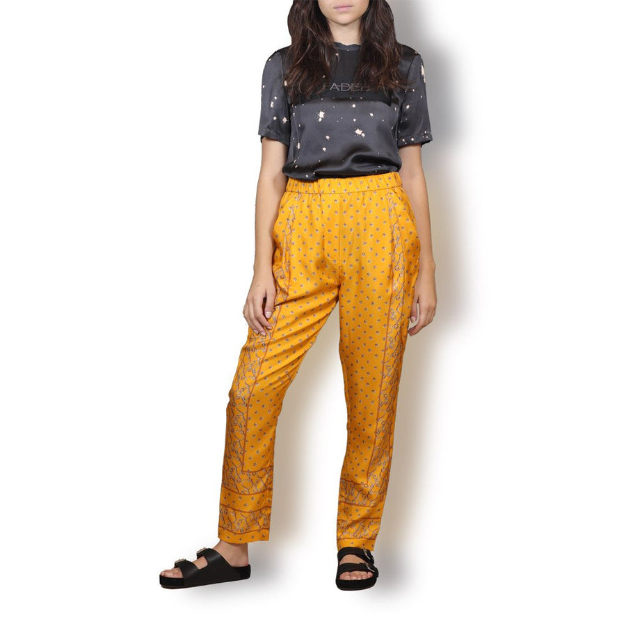 Printed draped trouser