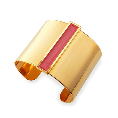 Enamel Channel Cuff Bracelet, Pink/Golden