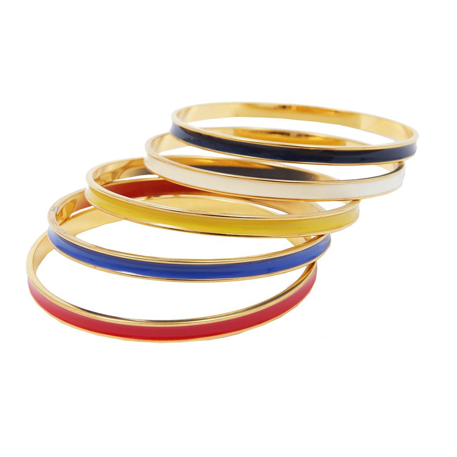 Skinny Channel Bangles, set of 5'