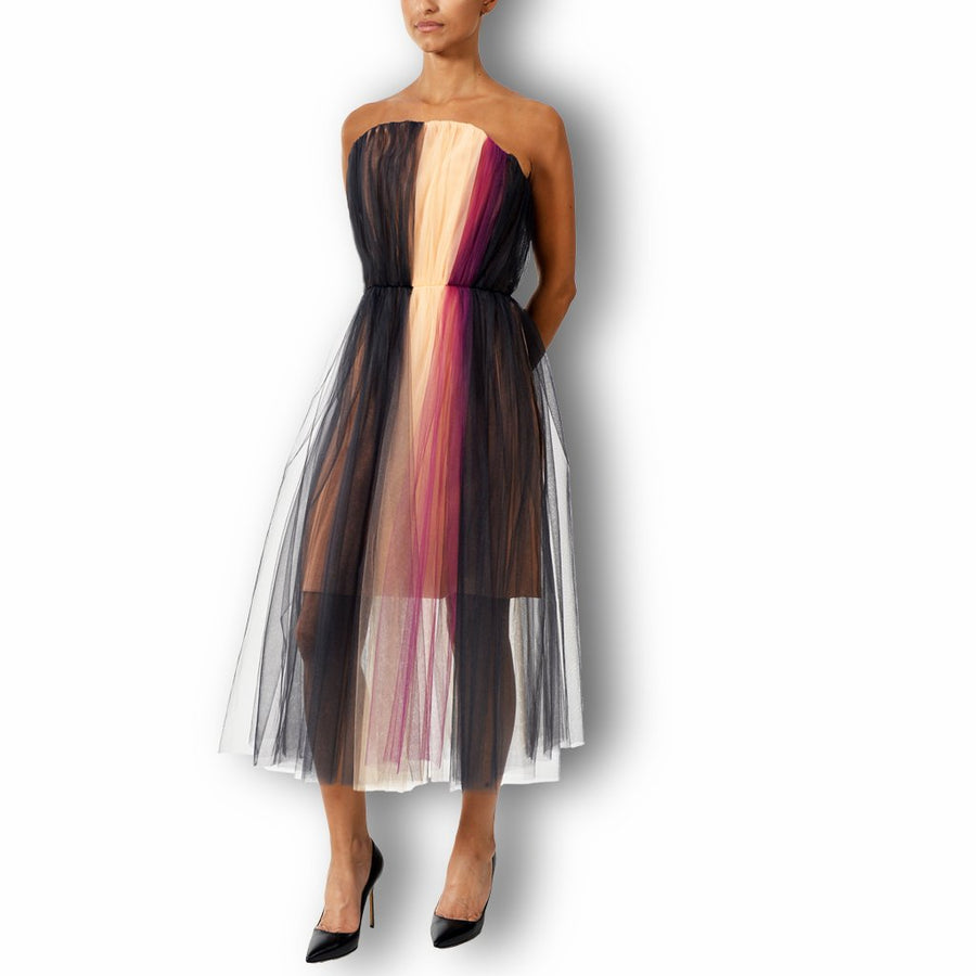 Silk Crepe Tulle Dress