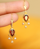 Garnet Teardrop Chandelier Earrings