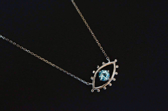 Prosperity Eye Necklace In Blue Topaz