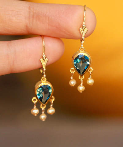 London Blue Topaz Teardrop Chandelier Earrings
