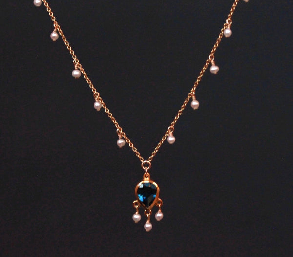 London topaz necklace with seed pearls