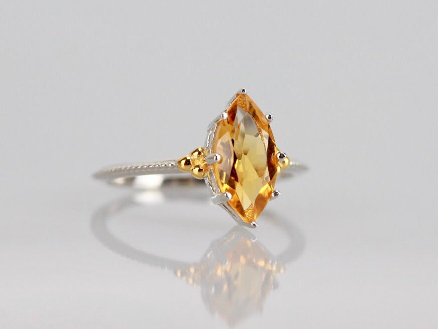 Legendary Navette Ring in Citrine