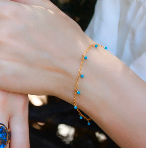 Dangling turquoise beads chain bracelet