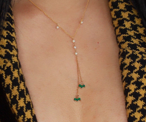 Dainty 14k gold filled lariet with pearls and green onyx