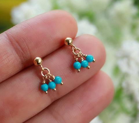 Turquoise droplet stud earrings