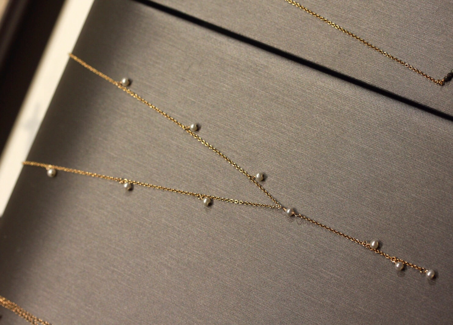 Dainty 14k Gold Filled Lariat Necklace with Natural Freshwater Pearls