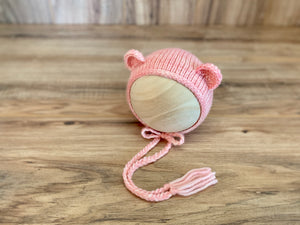 Limited Edition Newborn Teddy Bear Bonnet | Shades of pink