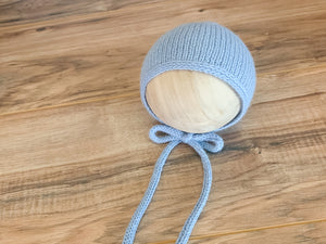 Little Boy Blue Newborn Bonnet with knit ties RTS